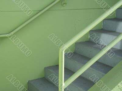 green outdoor staircase