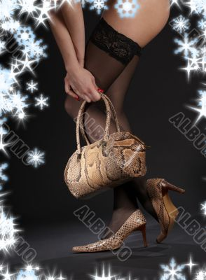 snakeskin shoes, handbag and stockings