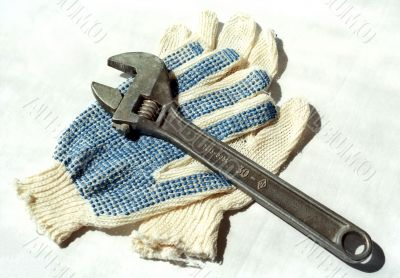 Two gloves and adjustable spanner
