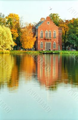 Building of holland style in the autumn park