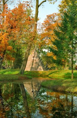 Northern pyramid in autumn day