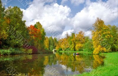 Picturesque view of autumn pond
