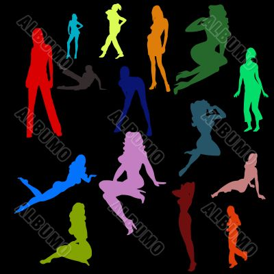 Color silhouettes of the sexy girls