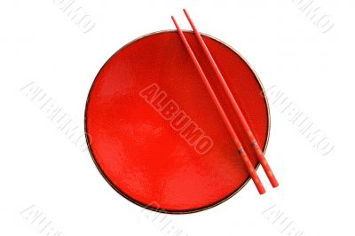 Red dish and chopsticks with oriental style