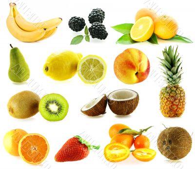 set of frash ripe different fruits