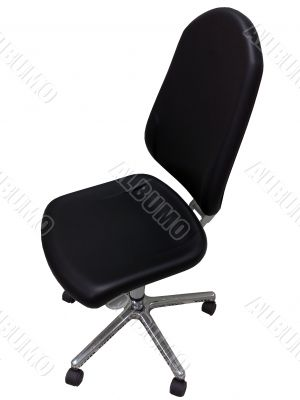 Black office chair on a white background.