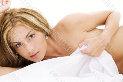 healthy naked woman in bed