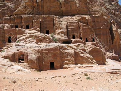 Ruins of Necropolis in Petra