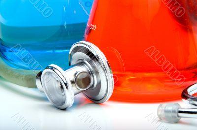 Stethoscope and Beakers