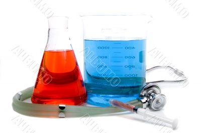 Medical Beakers Syringe and Stethoscope