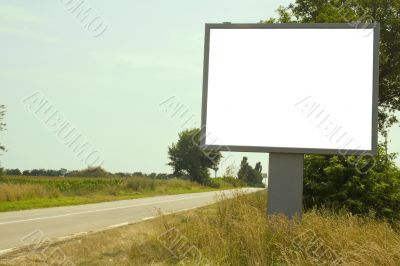 Blank sign on side of road