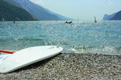 Surf board on Garda coast