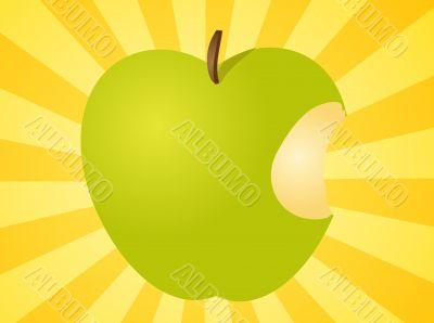 Apple with bite  illustration