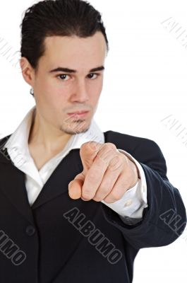 businessman indicating with the finger,