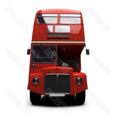 red double decker autobus over white
