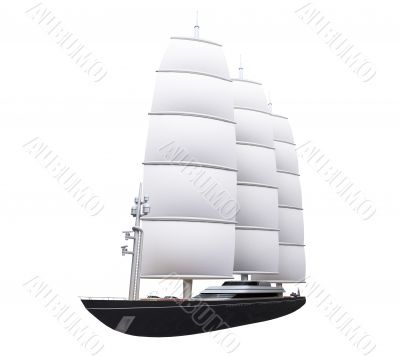 Vessel boat isolated over white