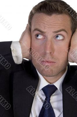 portrait of businessman stopping high sound