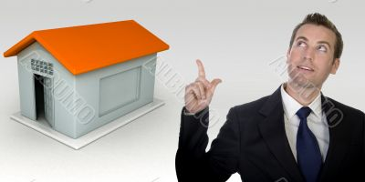 business man and three dimensional house