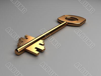 three dimensional gold key