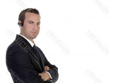smart businessman with bluetooth