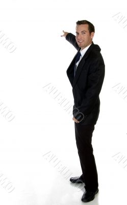 smart businessman pointing sideways