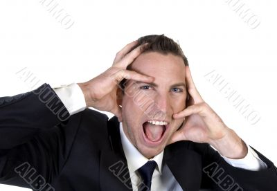 frustrated businessman holding his face