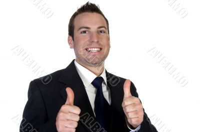 young happy businesssman and showing thumbsup