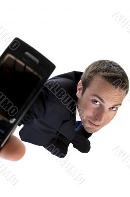 businessman busy on phone call and looking upwards