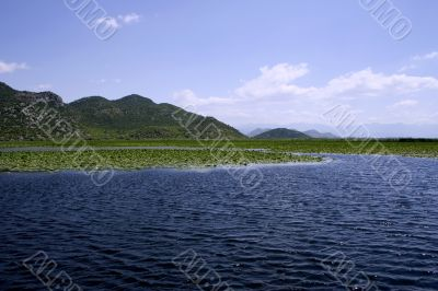 Idyllic panoramic picture of european lake near the mountains