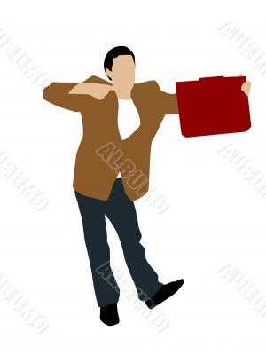 young man indicating towards office bag