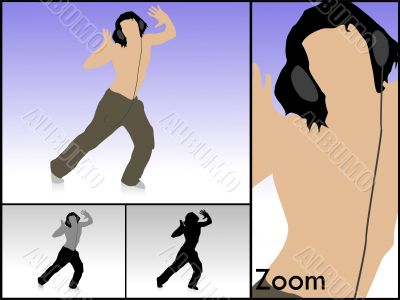 dancing male with headset