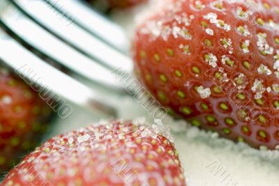 strawberry, sugar and fork