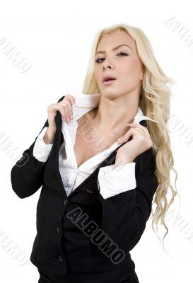 stylish woman holding her collar