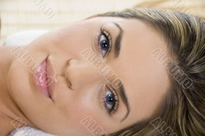 close view of the beautiful face of woman