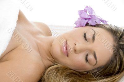 sleeping beautiful lady in towel