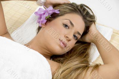 aerial view of relaxing blonde model