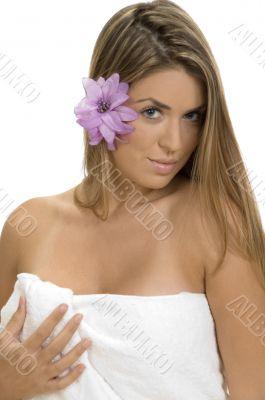 posing blonde lady in towel