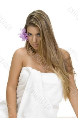 posing sexy blonde woman in towel