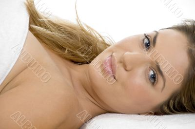 laying sexy caucasian lady
