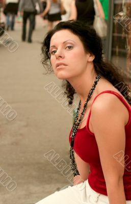 beautiful brunette in red