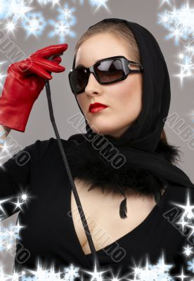lady in red gloves with crop