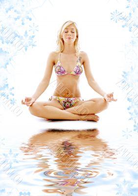 meditation on white sand
