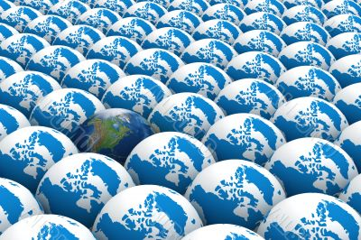 One of many. A row of globes. 3D image.