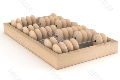 Old wooden abacus on a white background. 3D image.