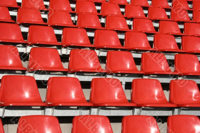 Red seats in a Sports Venue without people