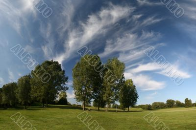 Beautiful landscape cirrus clouds