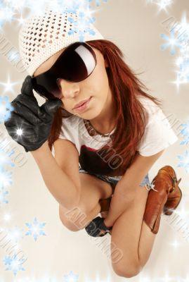 cool girl in big sunglasses