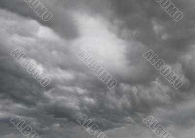 Dark rain and thunderstorm clouds