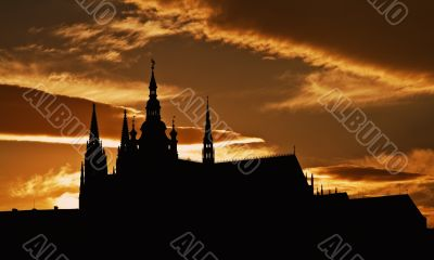 Dusk silhouette of the Prague Castle