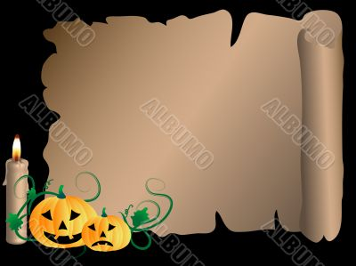 Scroll with pumpkins